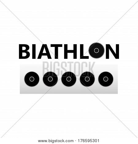 Black icon with text Biathlon and targets isolated on white background