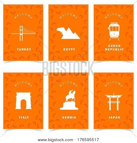 Poster For Travel On Orange Background Set Three Illustration
