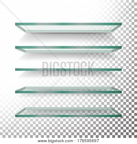 Empty Glass Shelves Template Vector Set. Realistic Transparent Blue Glass Shelves On Checkered Background
