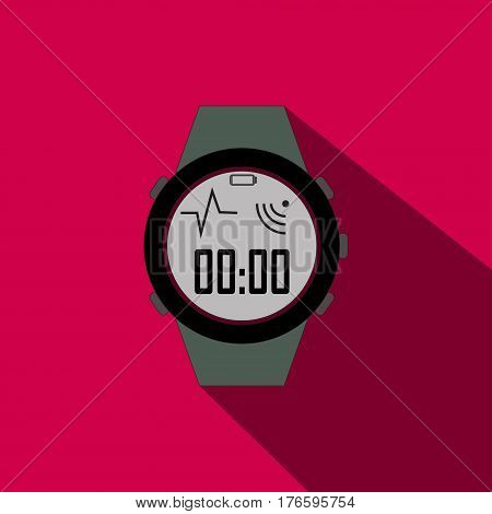 stopwatch flat icon with long shadow on pink background