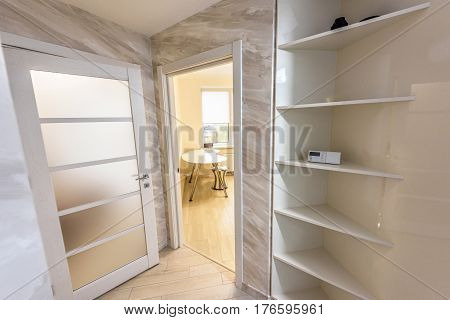 Stock photo white apartment interior hall design with white doors, modern style, chisinau, moldova