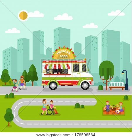 Flat design vector illustration of City landscape with mexican food car. Mobile retro vintage shop truck icon with signboard with big tasty tacos. Men and woman have a picnic eating tacos burritos