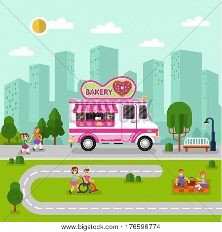 Flat design vector illustration of City landscape with bakery car. Mobile retro vintage shop truck icon with signboard with big donut in heart shape. Men and woman have a picnic in park