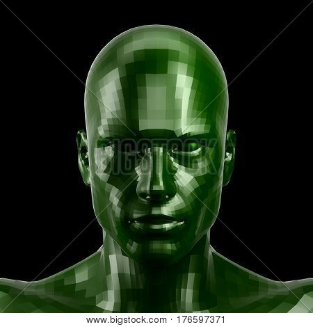 3D rendering. Faceted green robot face with green eyes looking front on camera. Isolated on black background