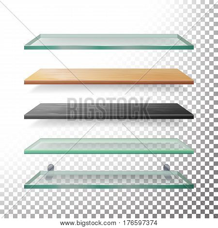 Empty Glass And Wood Shelves Template Vector. Realistic Metal, Glass, Wood, Plastic Bookstore Shelves