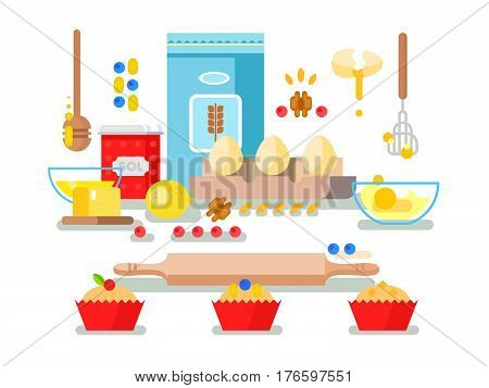 Preparation of baking ingredients. Cupcake food, flour and cooking, bakery pastry. Vector illustration
