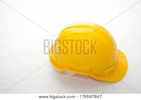 Yellow safety helmet isolate on white background