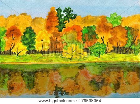 Hand painted picture watercolours - autumn landscape forest with reflection in water.