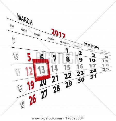 March 13, Highlighted On 2017 Calendar.