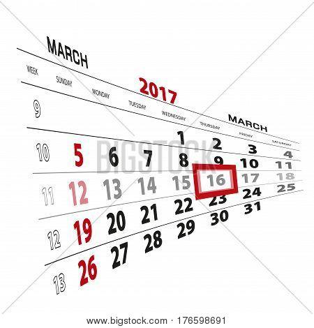 March 16, Highlighted On 2017 Calendar.