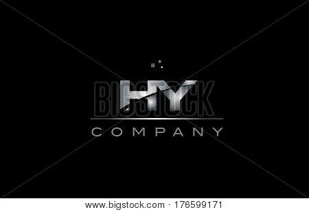 Hy H Y  Silver Grey Metal Metallic Alphabet Letter Logo Icon Template
