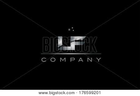 Lf L F  Silver Grey Metal Metallic Alphabet Letter Logo Icon Template