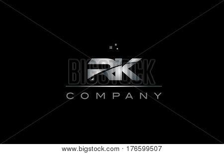 Rk R K  Silver Grey Metal Metallic Alphabet Letter Logo Icon Template