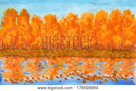 Hand painted picture watercolours - autumn landscape with orange colour forest on bank of lake with reflection.