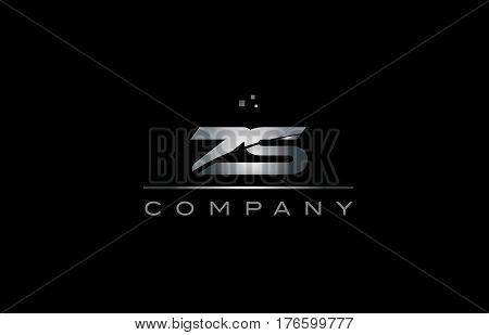 Zs Z S  Silver Grey Metal Metallic Alphabet Letter Logo Icon Template