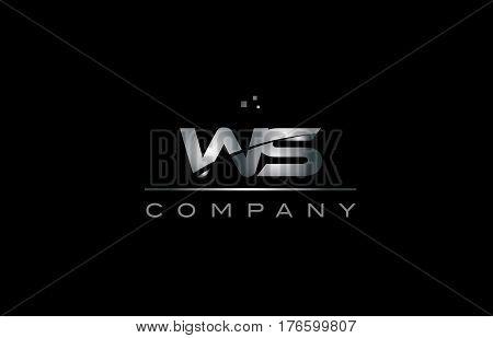 Ws W S  Silver Grey Metal Metallic Alphabet Letter Logo Icon Template