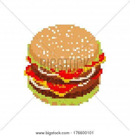 Hamburger Pixel Art. Pixelated Fast Food Isolated On White Background. Fresh Burger