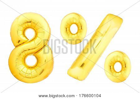 Golden eight percent made of inflatable balloons isolated on white background. One of full percentage set