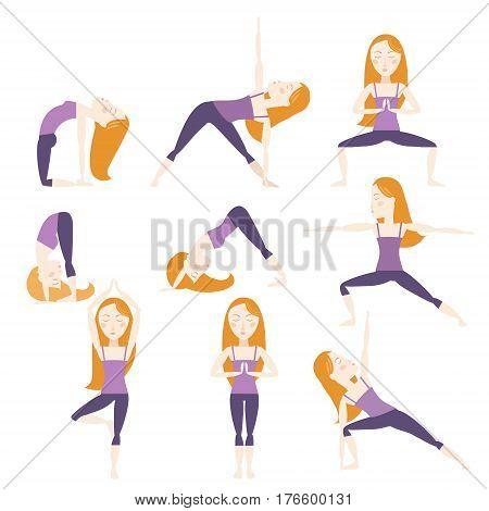 Set of nine yoga poses. Red hair girl