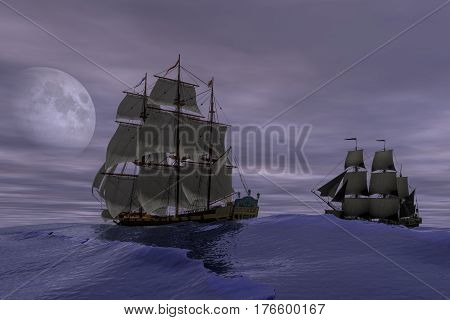 3d rendering of pirate ships scene at high sea