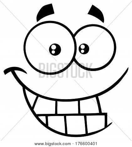 Black And White Smiling Cartoon Funny Face With Smiley Expression. Illustration Isolated On White Background