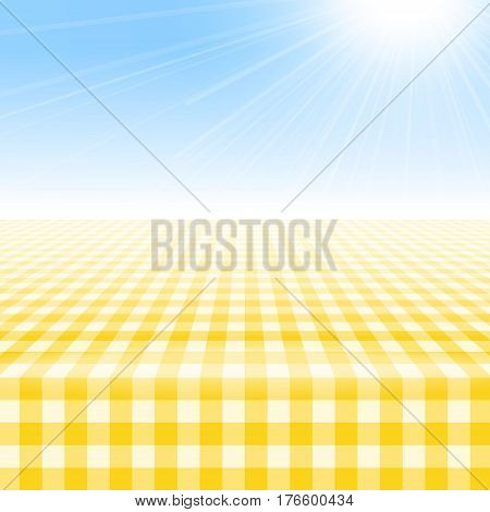Empty picnic table covered with checkered gingham tablecloth. Clear blue sky background. Summer picnic background for product presentation Vector illustration. Yellow gingham pattern.