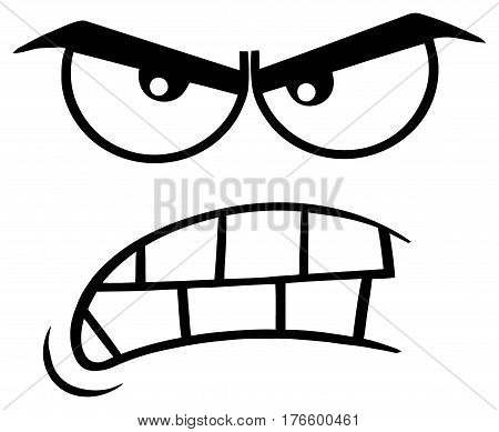 Black And White Aggressive Cartoon Funny Face With Angry Expression. Illustration Isolated On White Background