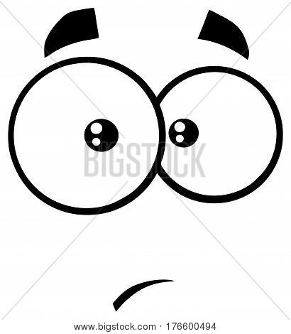 Black And White Surprisingly Cartoon Funny Face With Expression. Illustration Isolated On White Background