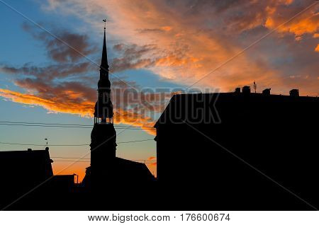 Silhouettes of old Riga. Architecture of old Riga early in the morning. Riga is the capital and the largest city of Latvia