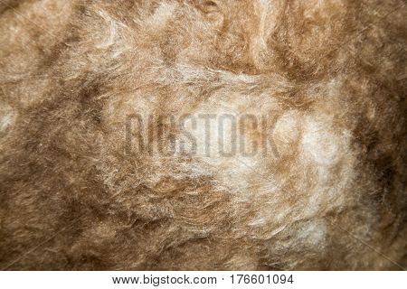 Close up of a glass wool roll for insulation purpose, side view with details