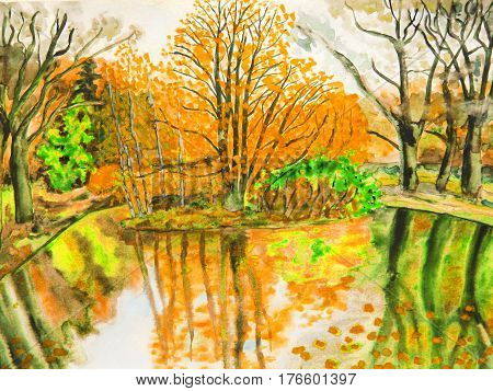 Hand drawn picture in watercolours autumn landscape.