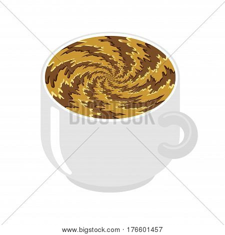 Hypnot Coffee Mug. Hypnosis Aroma Swirl. Invigorating Hypnotic Drink Isolated.