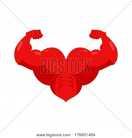 Strong Heart And Hands Muscular. Powerful Love Athlete.