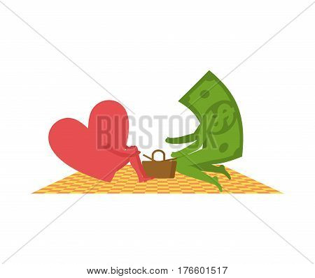 Love And Money On Picnic. Selling Love. Dollar And Heart. Basket And Picnic Blanket