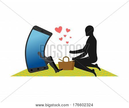 Lover Of Gadgets. Man And Smartphone On Picnic. Basket And Picnic Blanket. Always Together Device. I