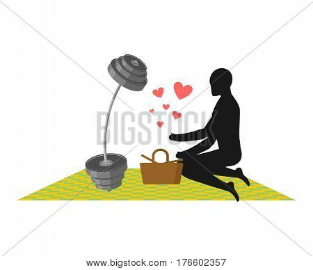 Lover Fitness. Man And Barbell On Picnic. Basket And Picnic Blanket. Lovers Sport. Always Together.