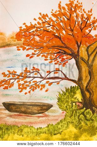 Hand painted picture watercolours autumn landscape with boat on river.