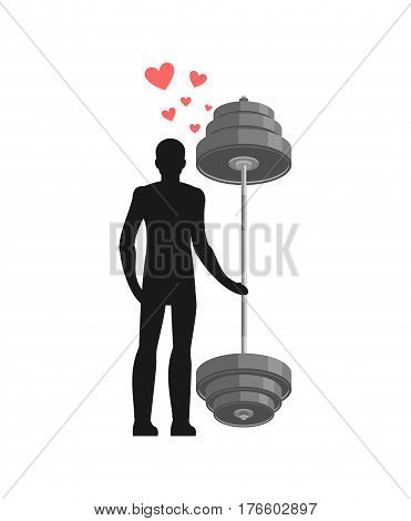 Lover Fitness. Man And Barbell Hold On To Hands. Lovers Sport. Always Together. I Love Bodybuilding