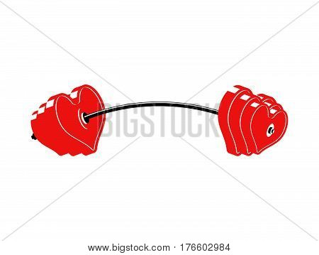 Love Barbell. Heart Weights. Amur Fitness. Sports Projectile For Lovers