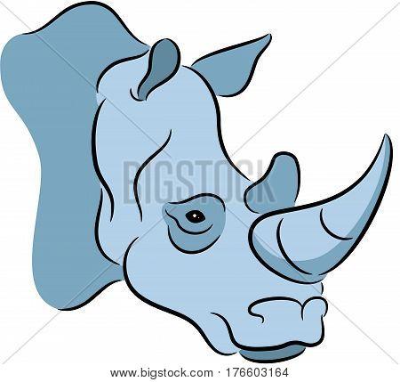 Vector Illustration of a grey rhinoceros, isolated