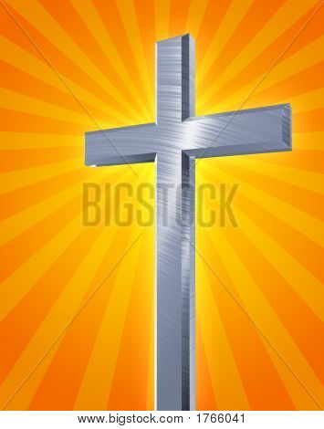 Silver Cross With Light Burst