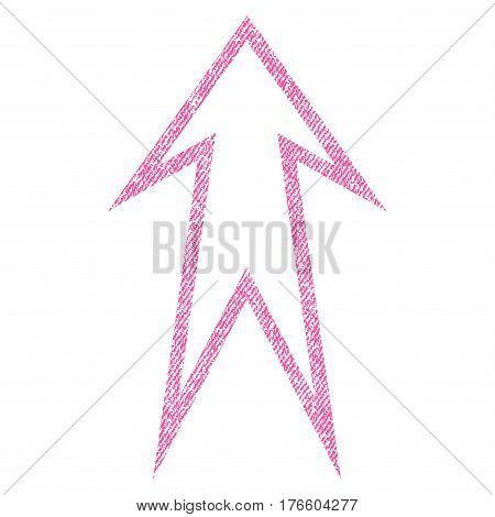 Arrow Up vector textured icon for overlay watermark stamps. Fabric pink vectorized texture. Symbol with dirty design. Rubber seal stamp with fiber textile structure.