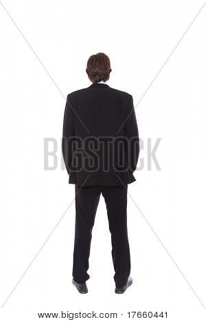 business man full body from back isolated