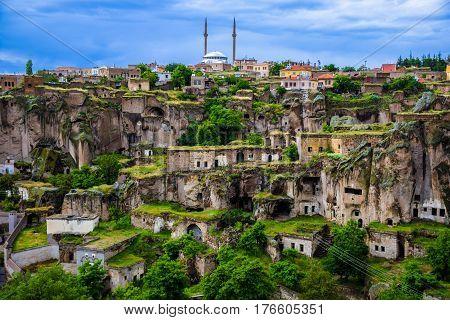 Guzelyurt town and the underground city near Ihlara valley in Cappadocia, Turkey