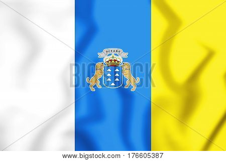 3D Flag Of The Canary Islands, Spain. 3D Illustration.