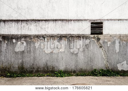 Old white plaster wall with green grass