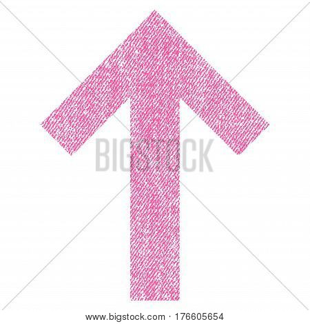 Arrow Up vector textured icon for overlay watermark stamps. Fabric pink vectorized texture. Symbol with scratched design. Rubber seal stamp with fiber textile structure.
