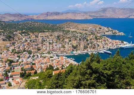 Beautiful Greek island - Symi Dodecanese Panoramic View