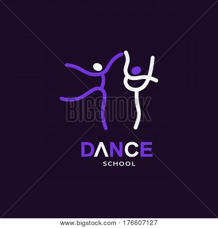 Dance icon concept. Ballet studio logo design template. Design idea fitness class banner background with symbol of abstract people, ballerina in dancing poses. Dancer sign emblem. Vector illustration