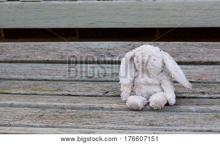 Abandoned old toy rabbit, much loved childs toy lost and waiting